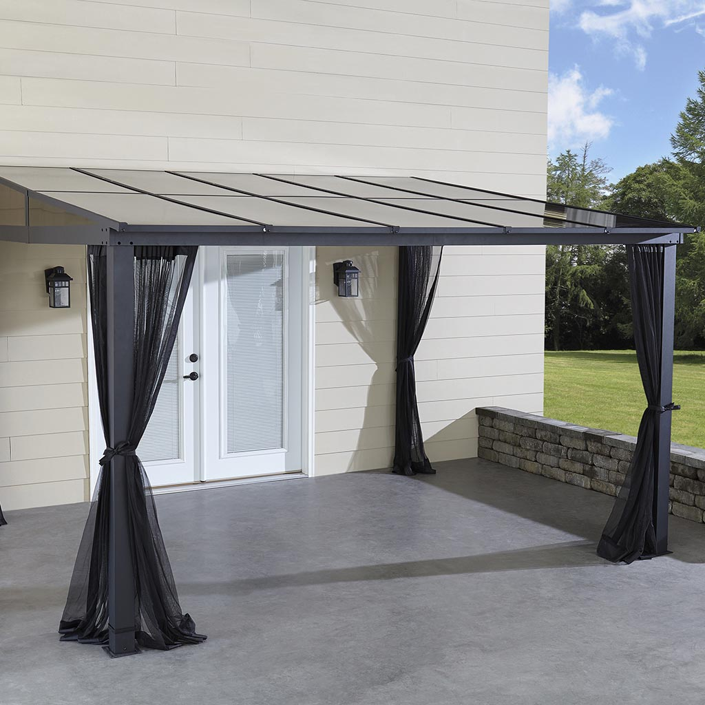 12x10 Hardtop Aluminum Gazebo with Netting