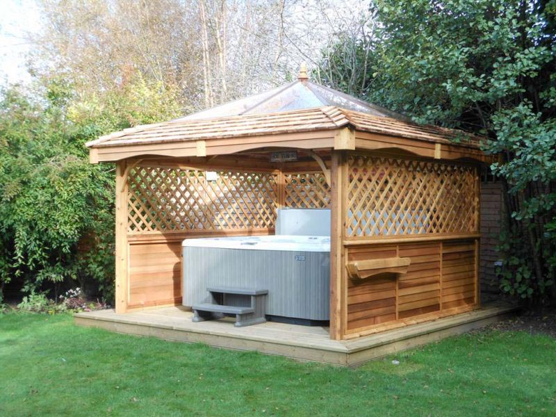 Hot Tub Canopy : Cedar hot tub gazebo kits pergola design ideas