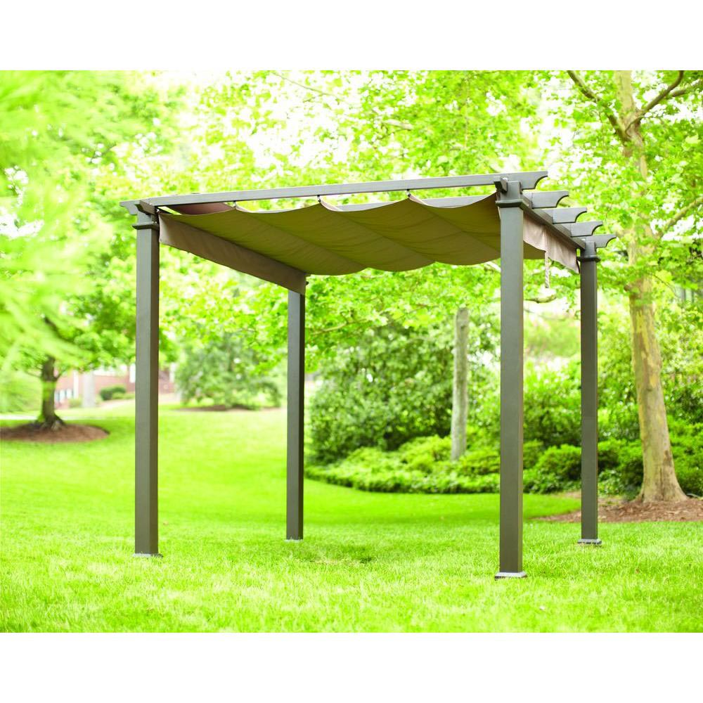 Hampton Bay Aluminum Pergola w Retractable Roof