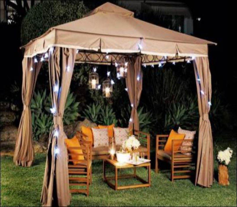 Living Home Outdoors 10x12 Gazebo with Solar Lights