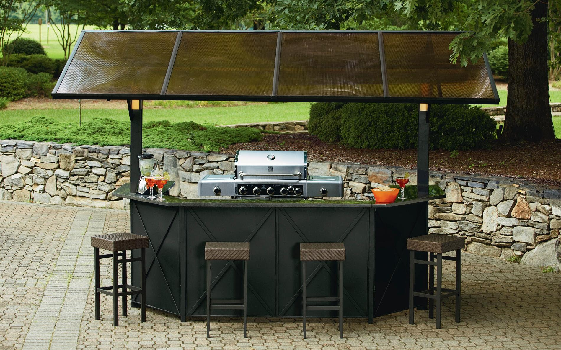 Metal Frame Gazebo with Bar