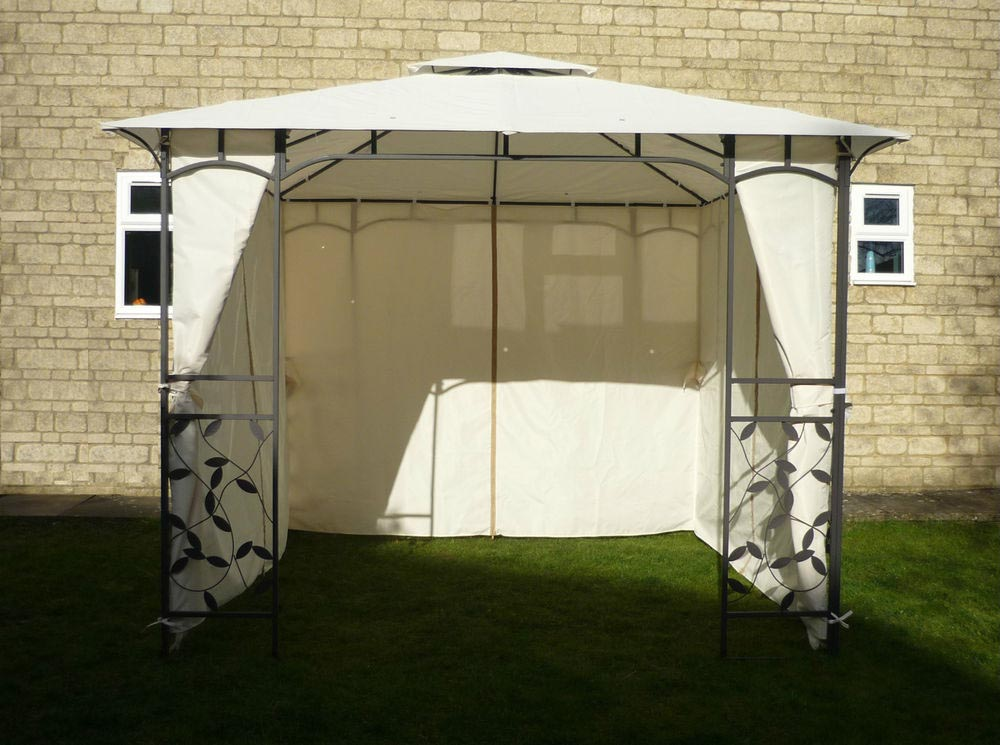 Metal Frame Gazebo with Curtains