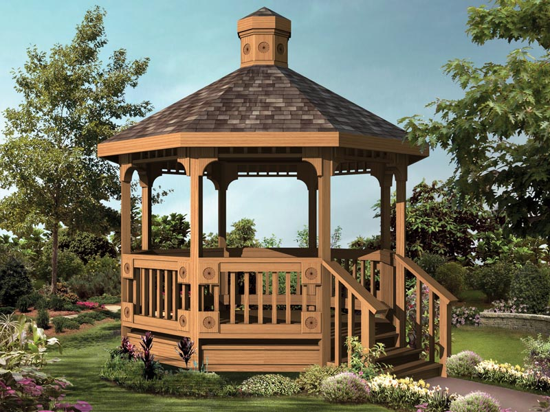 Octagon gazebo floor plans pergola design ideas for Octagonal log cabin plans