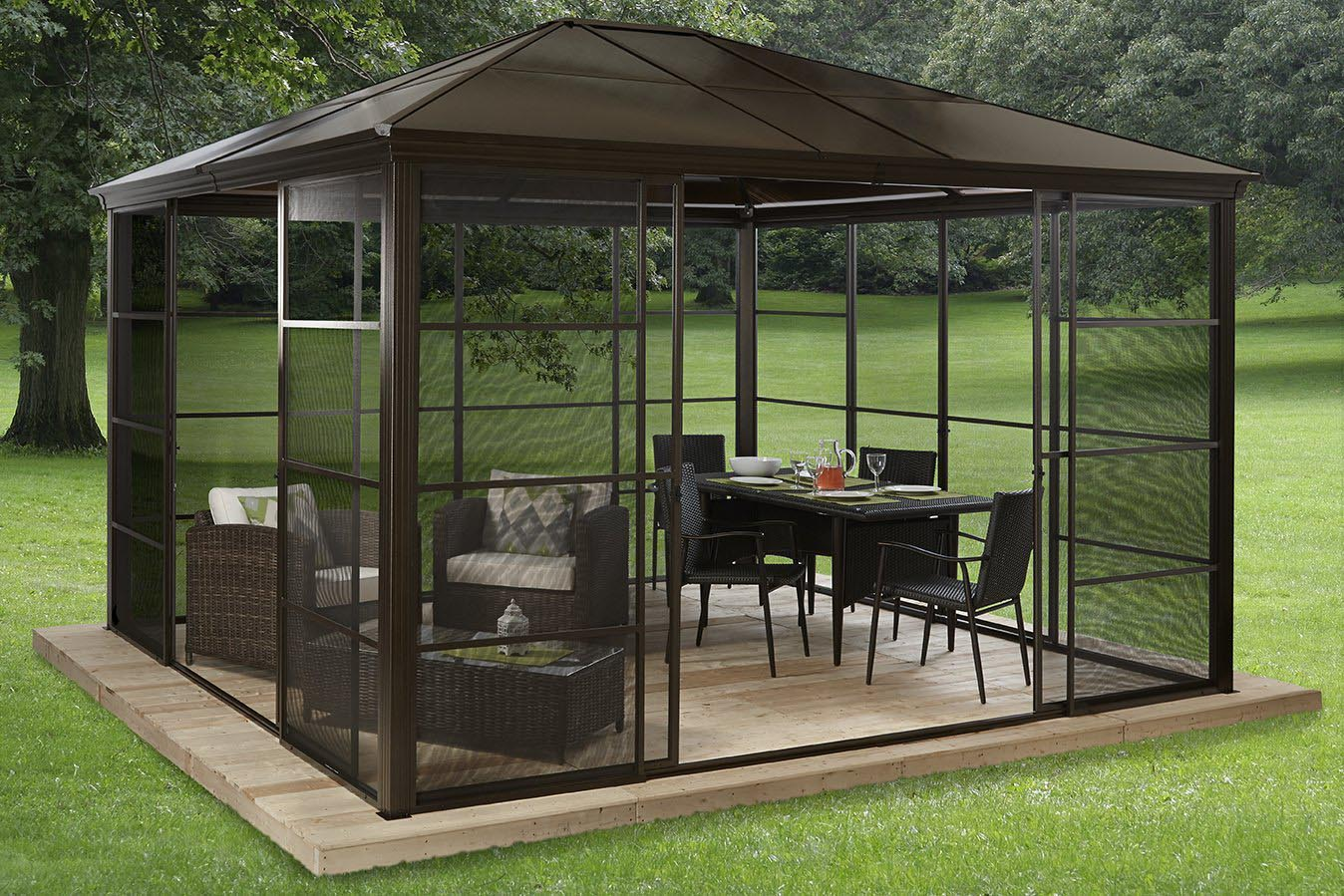 Outdoor metal gazebo screen houses pergola design ideas - Pergola alu toile retractable ...