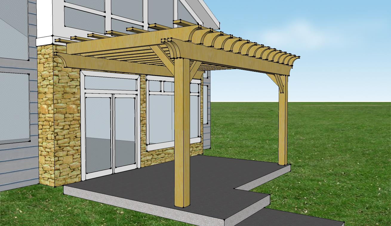Pergola attached to house kit pergola design ideas for Parts of a pergola