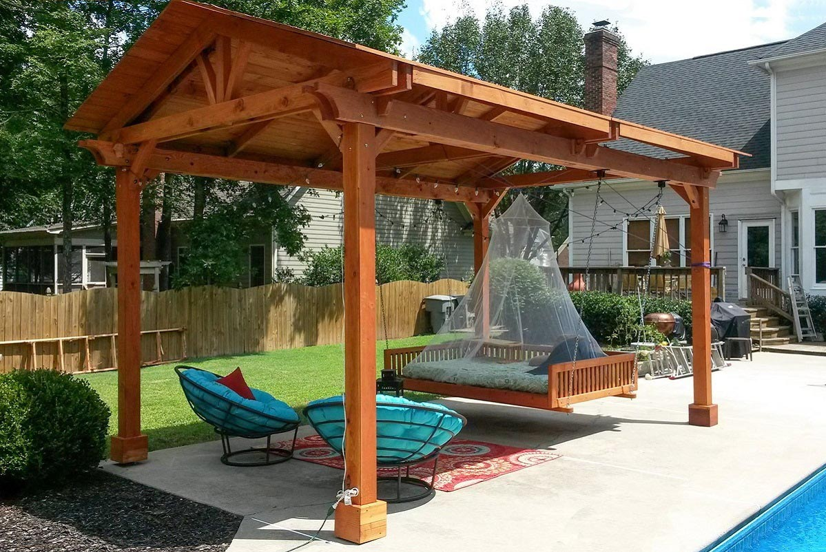 Red wood pergola kits design ideas