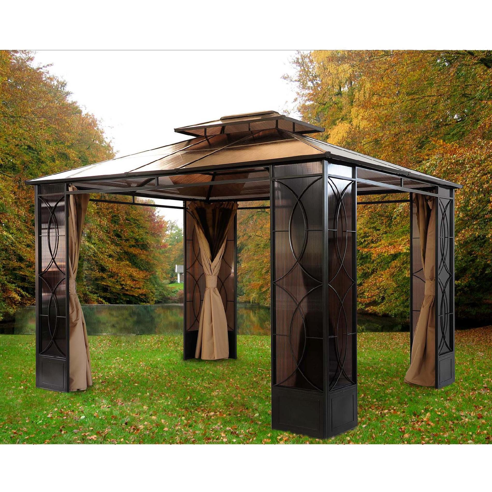 Metal Covered Gazebos : Sunjoy aluminum steel hardtop gazebo pergola design ideas